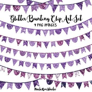 Purple Glitter Bunting Clip Art