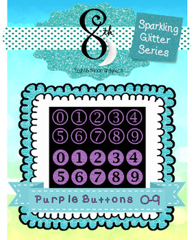 Purple Glitter Button Numbers 0 - 9