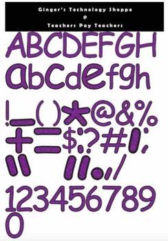 Purple Glitter Characters * Alphabet * Numbers * Symbols *