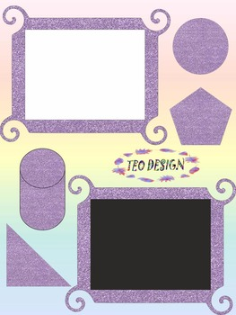 Classroom Decor - Glitter Purple Clipart - Alphabet - Numbers - Frames - Shapes