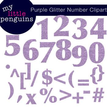 Purple Glitter Numbers and Symbols