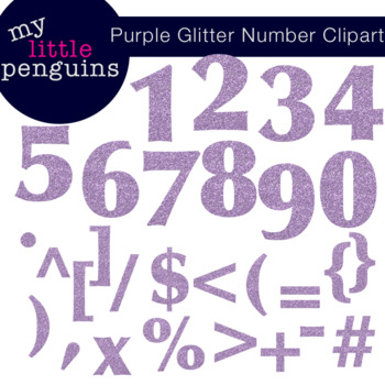 Purple Glitter Numbers and Symbols