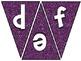 Pennant Bulletin Board Letters - Purple Glitter