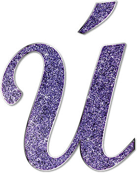 Purple Glitter Script • Full Alphabet With Numbers and Spanish Characters