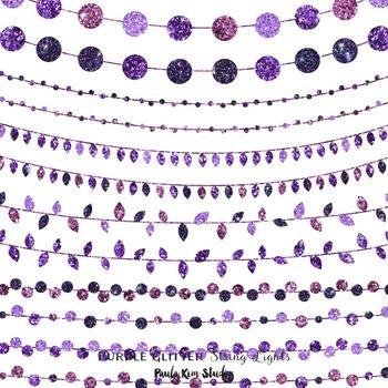 Purple Glitter String Lights