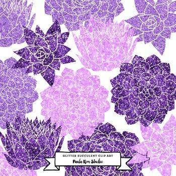 Purple Glitter Succulent Flower Clip Art