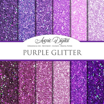 Purple Glitter Textures Background Digital Paper scrapbook sparkle, glittery