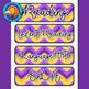 Purple & Gold Chevron Themed Pocket Chart Subject Schedule Cards & Calendar