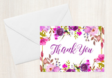 Purple Gold Floral Folded Thank You Note Cards