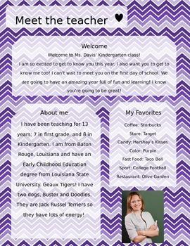 Purple Gradient Chevron Meet The Teacher Template **Editable**
