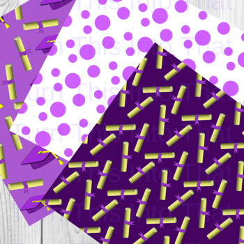Purple Graduation Digital Papers - Scrapbooking Paper - Scrapbook Clip Art