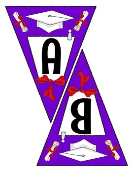 Purple Graduation Pennant Banner Set - Write any Message - all letters & Numbers