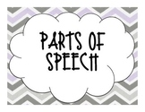 Purple, Gray, and Black Chevron Parts of Speech Posters