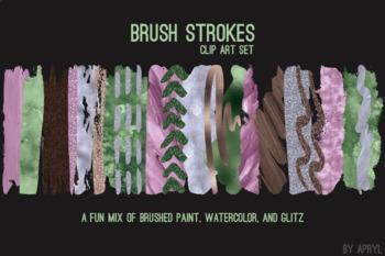 Purple Green Brush Strokes Paint Glitter Foil Watercolor 20 PNG Clip Art 12in CU