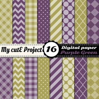 "Purple & Green DIGITAL PAPER - Scrapbooking- A4 & 12x12"" - Stripes..."