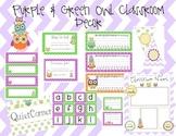 Purple & Green Owl Classroom Decor