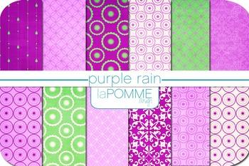 Purple & Green Summer Patterned Digital Paper Pack