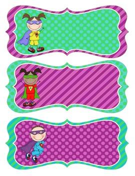 Superhero Name Tags - Purple, Green and Teal