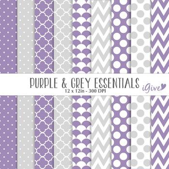 "Purple & Grey Digital Papers - ""essentials"""