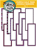 Purple Half Page Doodle Borders