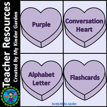 Purple Heart Alphabet Letter Flashcards Uppercase and Lowercase