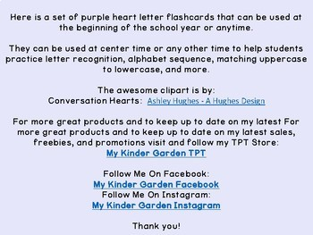 Purple Conversation Heart Alphabet Letter Flashcards Uppercase and Lowercase
