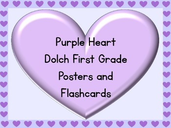 Purple Heart Dolch First Grade Sight Word Posters and Flashcards