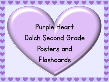 Purple Heart Dolch Second Grade Sight Word Posters and Flashcards
