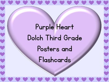 Purple Heart Dolch Third Grade Sight Word Posters and Flashcards