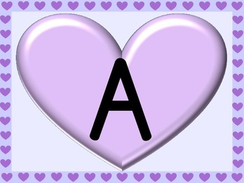Purple Heart Full Page Alphabet Letter Posters Uppercase and Lowercase