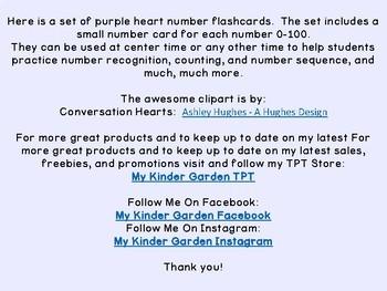 Purple Heart Math Number Flashcards 0-100