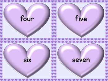 Purple Heart Number Word Flashcards Zero To One Hundred