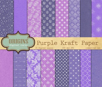 Purple Kraft Digital Paper Textures Backgrounds