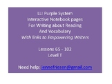 Purple LLI System Level T Interactive Notebook and Vocabulary