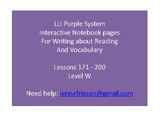Purple LLI System Level W Interactive Notebook and Vocabulary