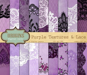 Purple Lace Digital Paper Backgrounds grunge textures, lace borders overlays