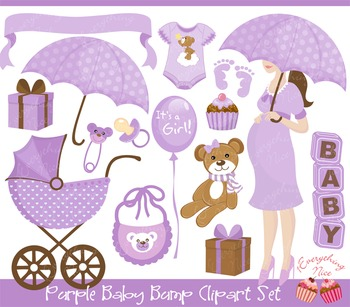 Purple Lavender Baby Bump Clipart Set