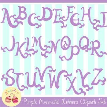 Purple Lavender Mermaid Letters Clipart Set
