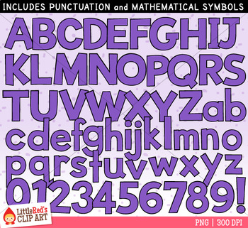 Purple Letters and Numbers Clip Art