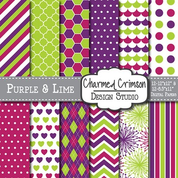 Purple, Lime Green, and Pink Trio Digital Paper 1194