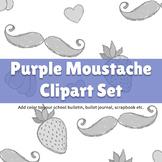 Purple Moustache ClipArt Set