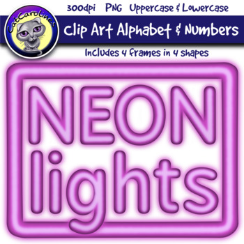 Purple Neon Lights Clip Art Alphabet Letters & Frames