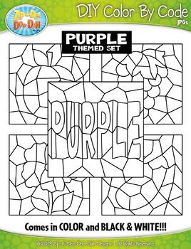 Purple Objects Color By Code Clipart {Zip-A-Dee-Doo-Dah Designs}