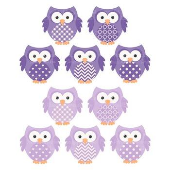 Purple Owl Clip Art Vectors & Papers - Baby Owl Clipart, Owl Clip Art, Baby Owls