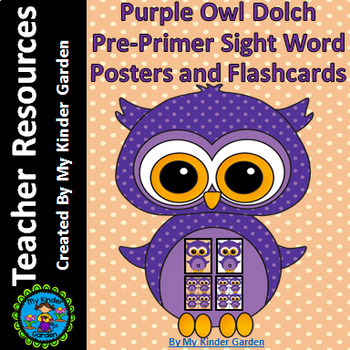 Purple Owl  Dolch Pre-Primer High Frequency Sight Word Flashcards & Posters