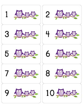 Purple Owl Mailbox or Cubby Number Labels