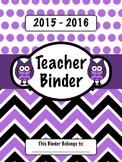 Purple Owl Teacher Binder