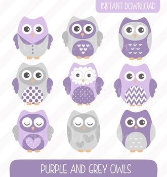 Purple Owls Clip Art Set