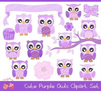 Purple Owls Clipart Set