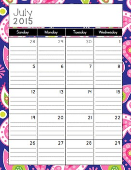 Purple Paisley Calendar and Coordinating Art {2015-2016}